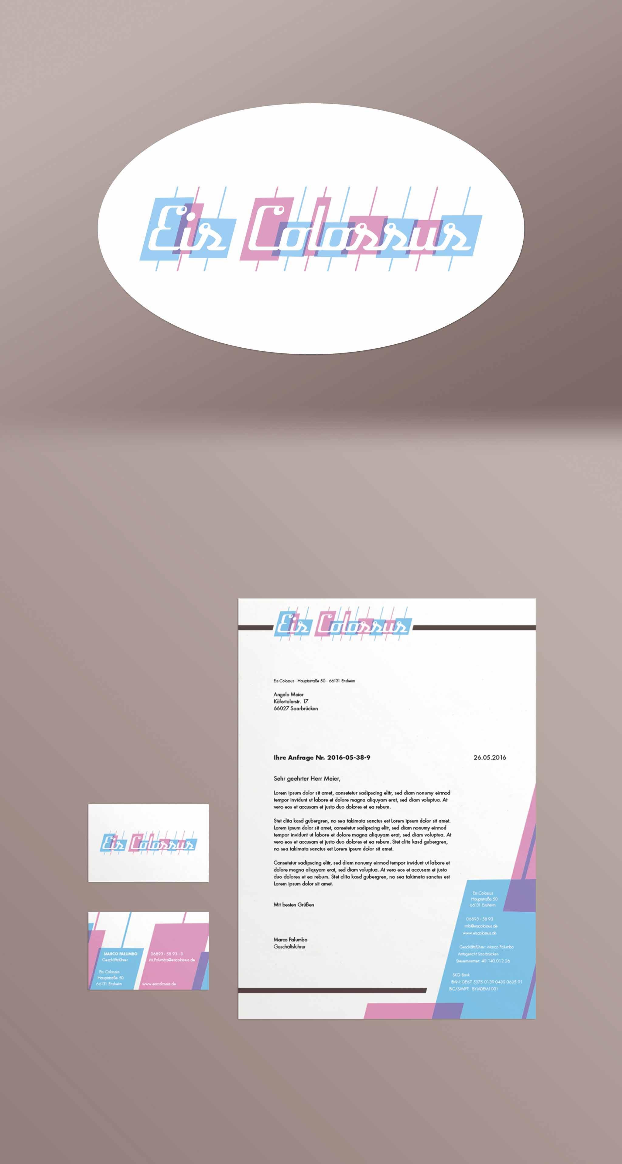 Eis Colossus Logo Visitenkarte Geschäftsbrief Geschäftsausstattung Briefbogen Corporate Design Eiskarte Gesa Siebert Kommunikationsdesign