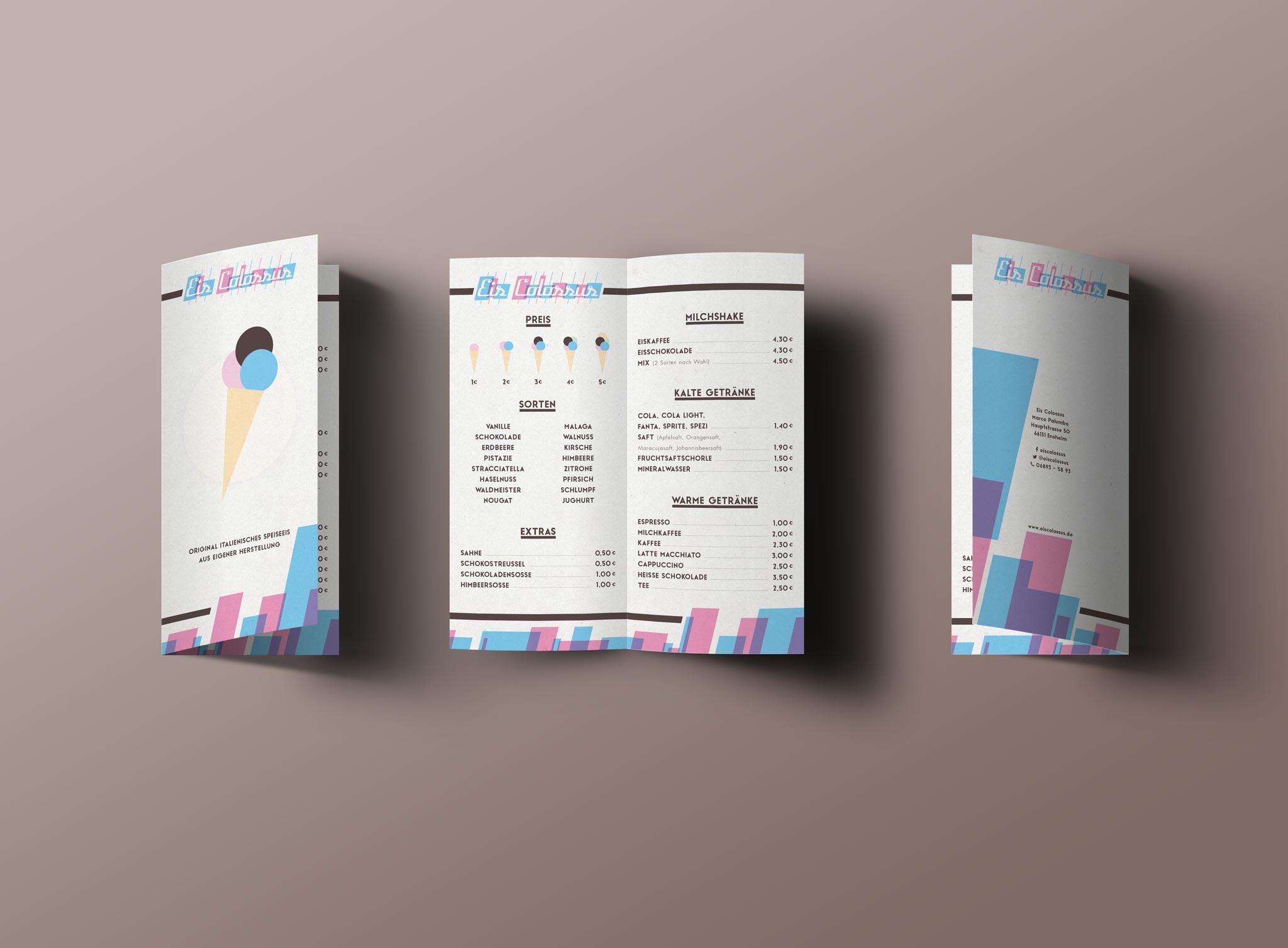 Eis Colossus Corporate Design Eiskarte Menukarte Gesa Siebert Kommunikationsdesign