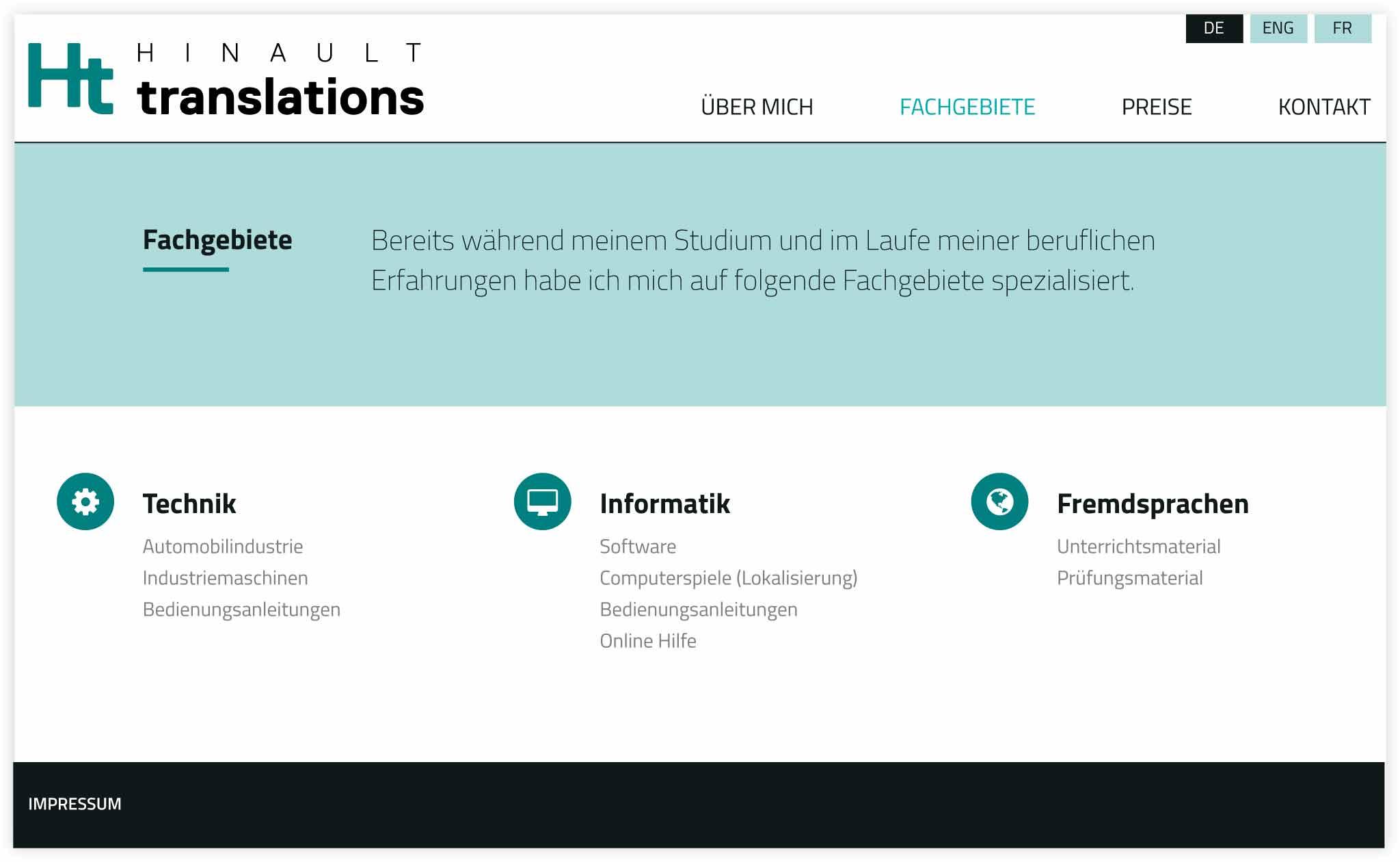 HINAULT translations Webdesign GesaSiebert Kommunikationsdesign Unterseite Fachgebiete