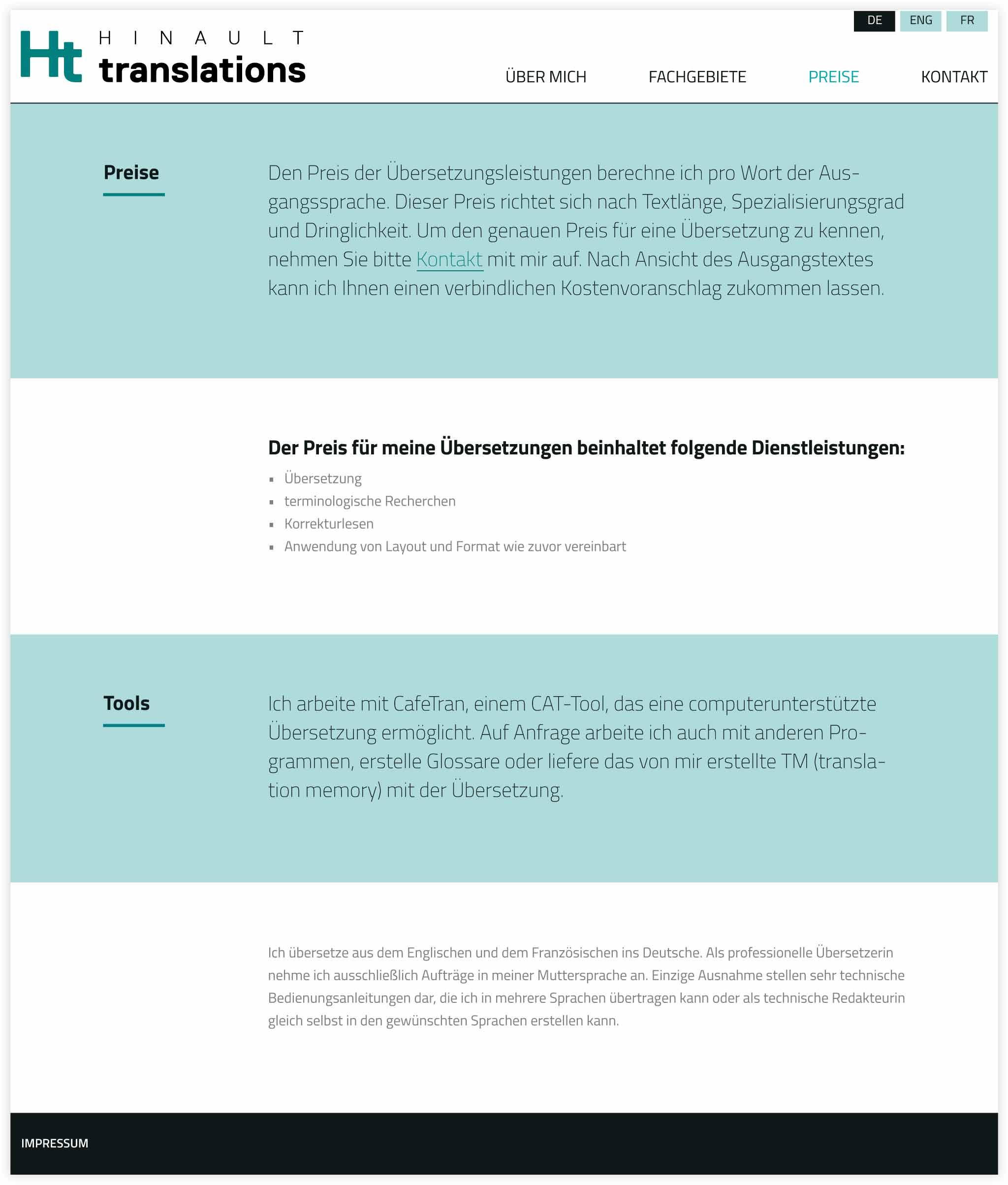 HINAULT translations Webdesign GesaSiebert Kommunikationsdesign Unterseite Preise