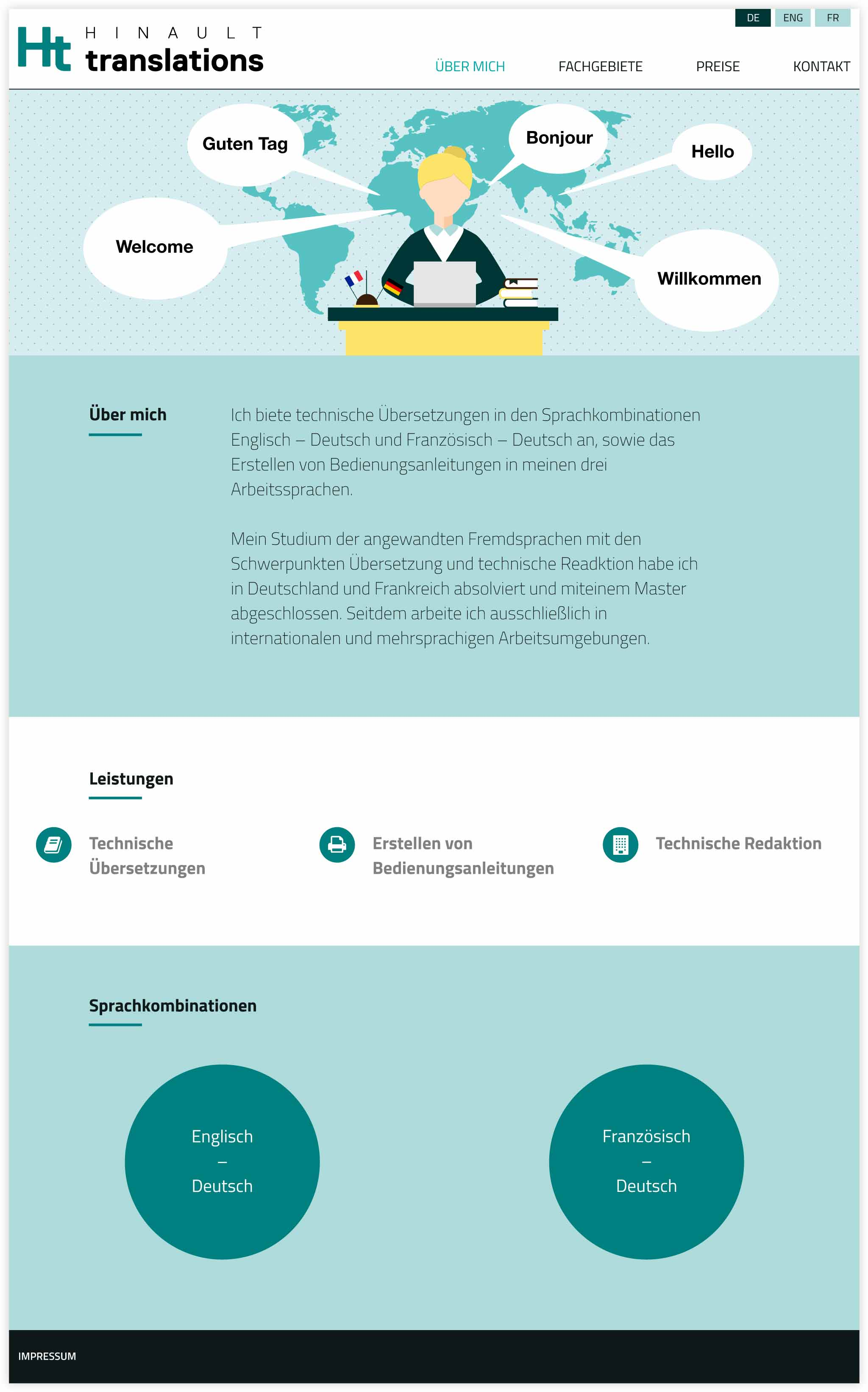 HINAULT translations Webdesign GesaSiebert Kommunikationsdesign Startseite