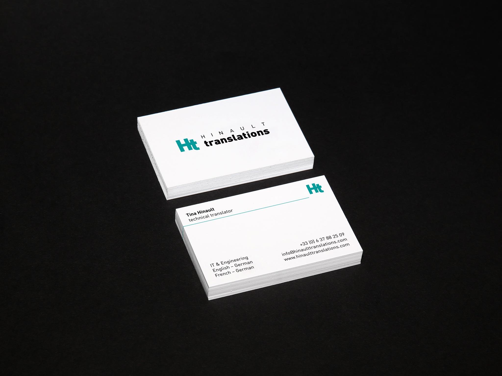 Hinault translations Visitenkarten Geschäftsausstattung Corporate Design Gesa Siebert Kommunikationsdesign