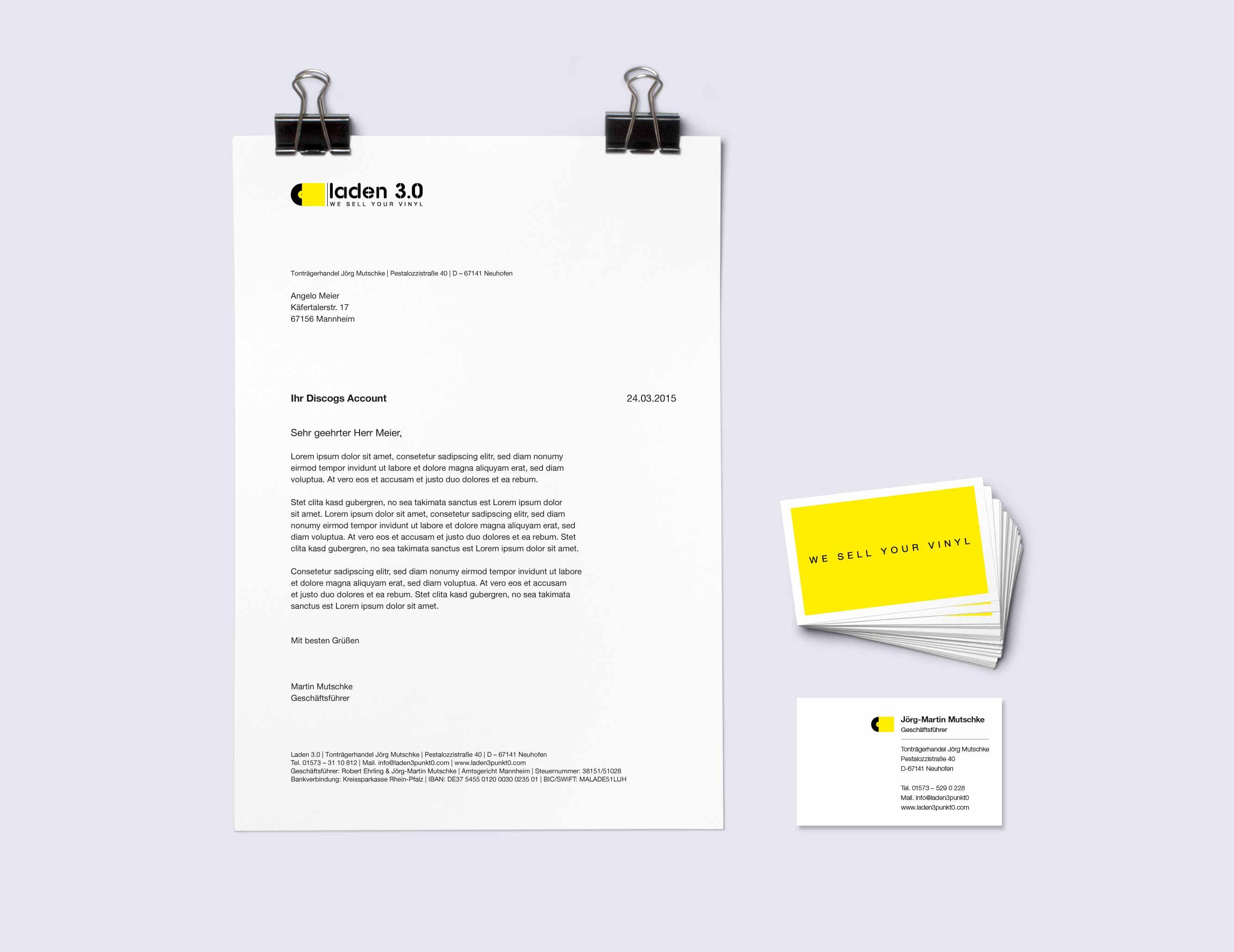 Laden 3.0 Geschäftsausstattung Visitenkarte Briefbogen Corporate Design Gesa Siebert Kommunikationsdesign