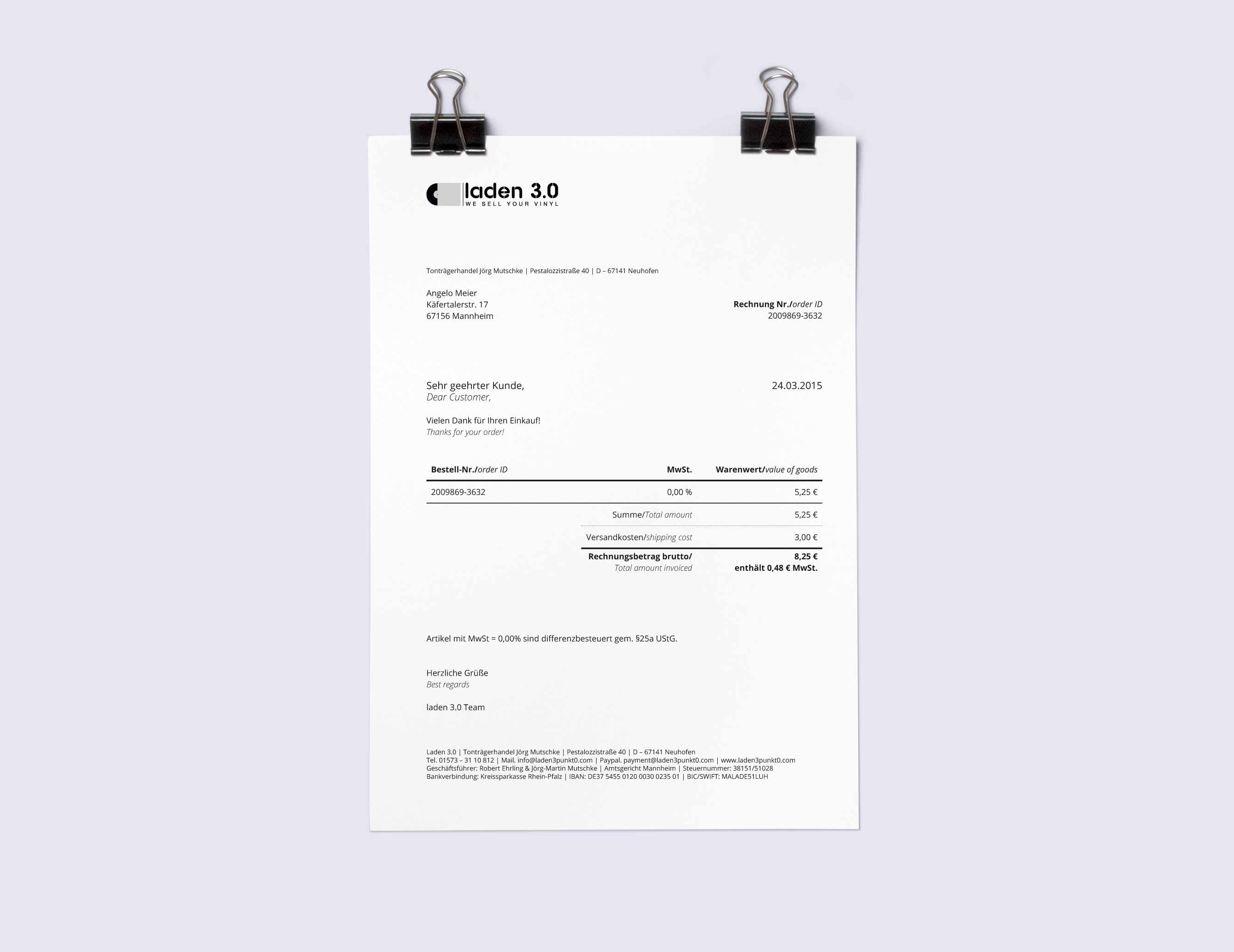 Laden 3.0 Geschäftsausstattung Rechnungstemplate