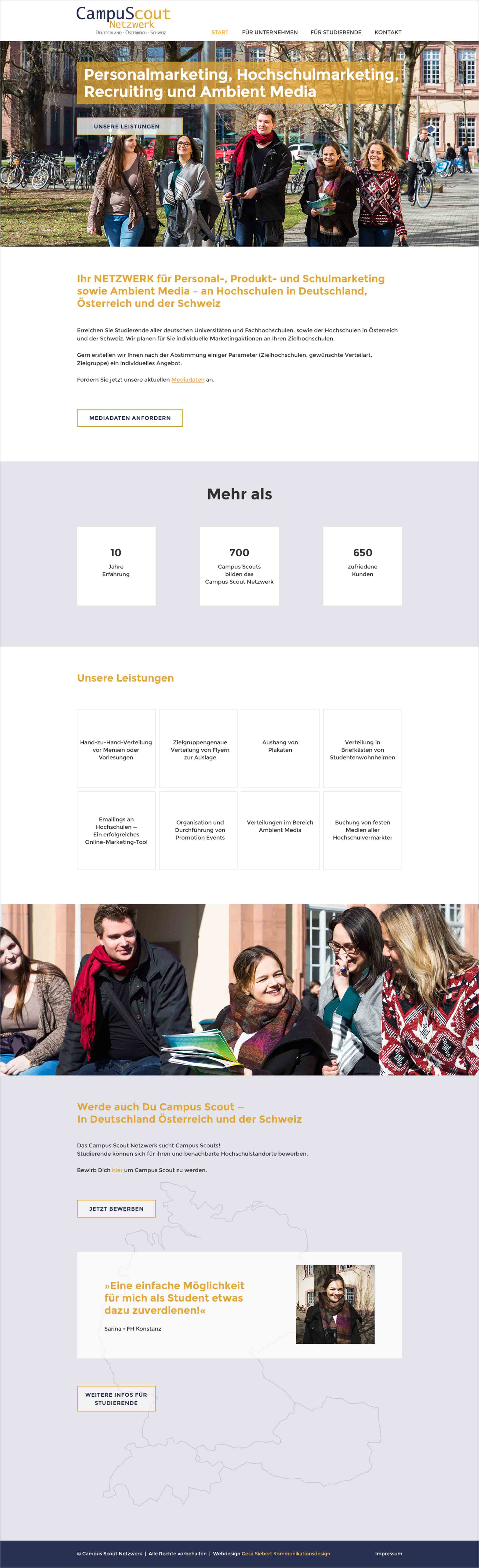 Webdesign Campus Scout Netzwerk Startseite Gesa Siebert Kommunikationsdesign