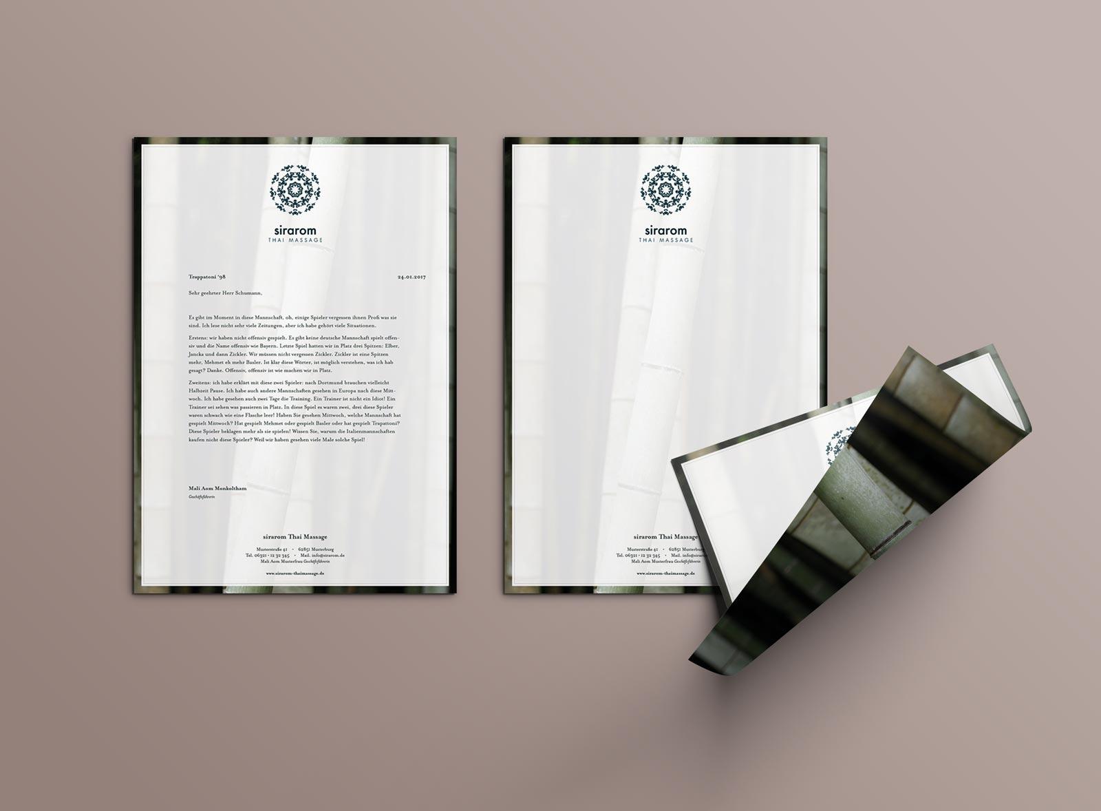 sirarom Thai Massage Corporate Design Geschäftsausstattung Briefbogen Briefpapier Geschäftspapier Gesa Siebert Kommunikationsdesign