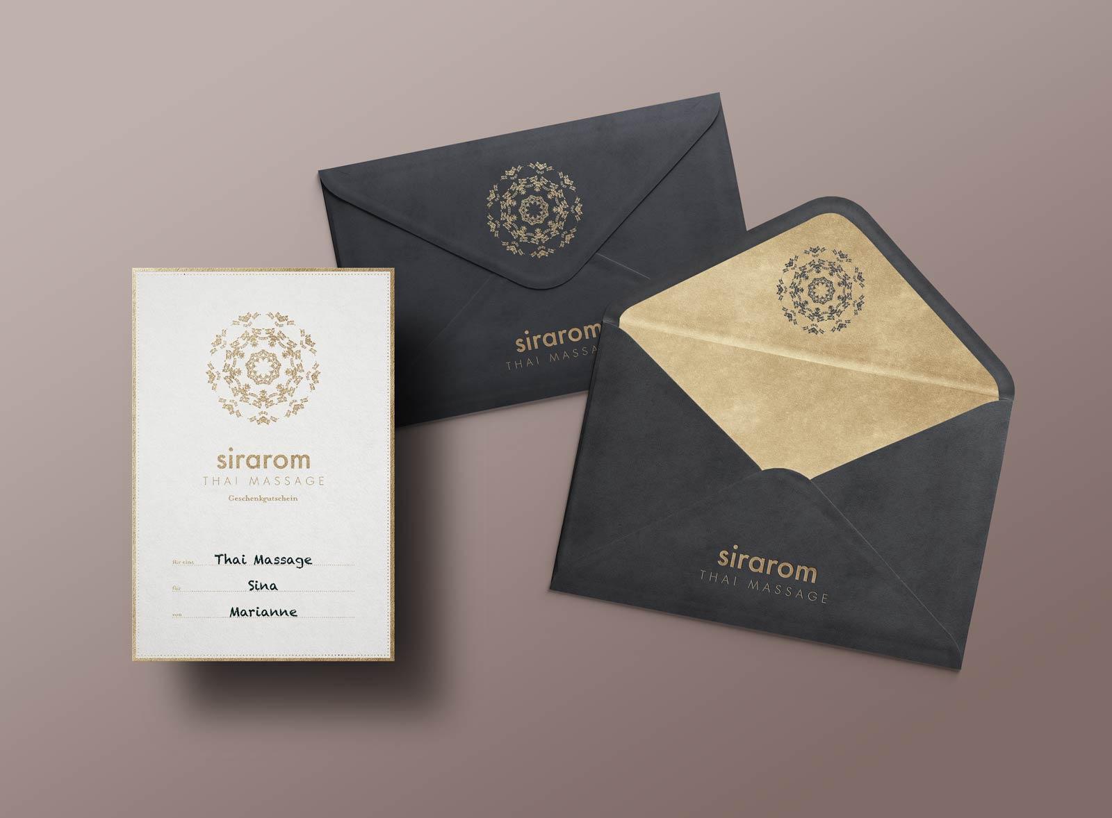 sirarom Massage Corporate Design Geschenkgutschein Gesa Siebert Kommunikationsdesign