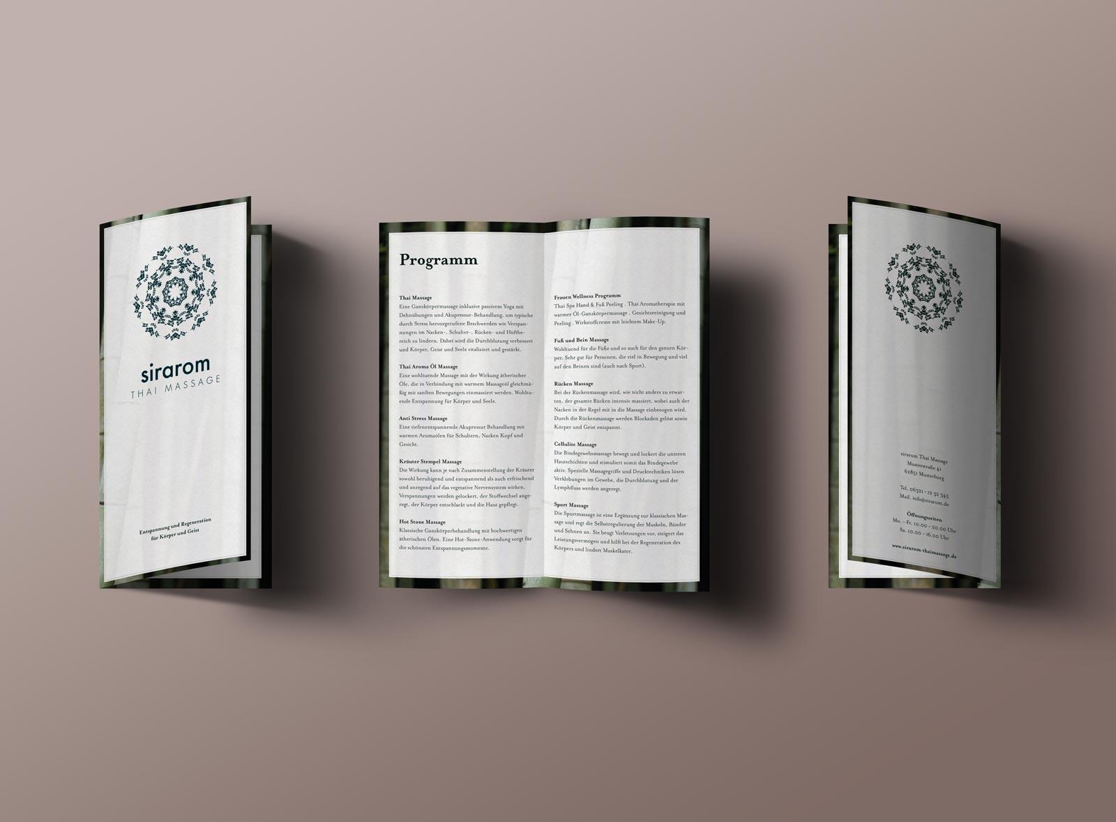 sirarom Thai Massage Corporate Design Flyer Gesa Siebert Kommunikationsdesign