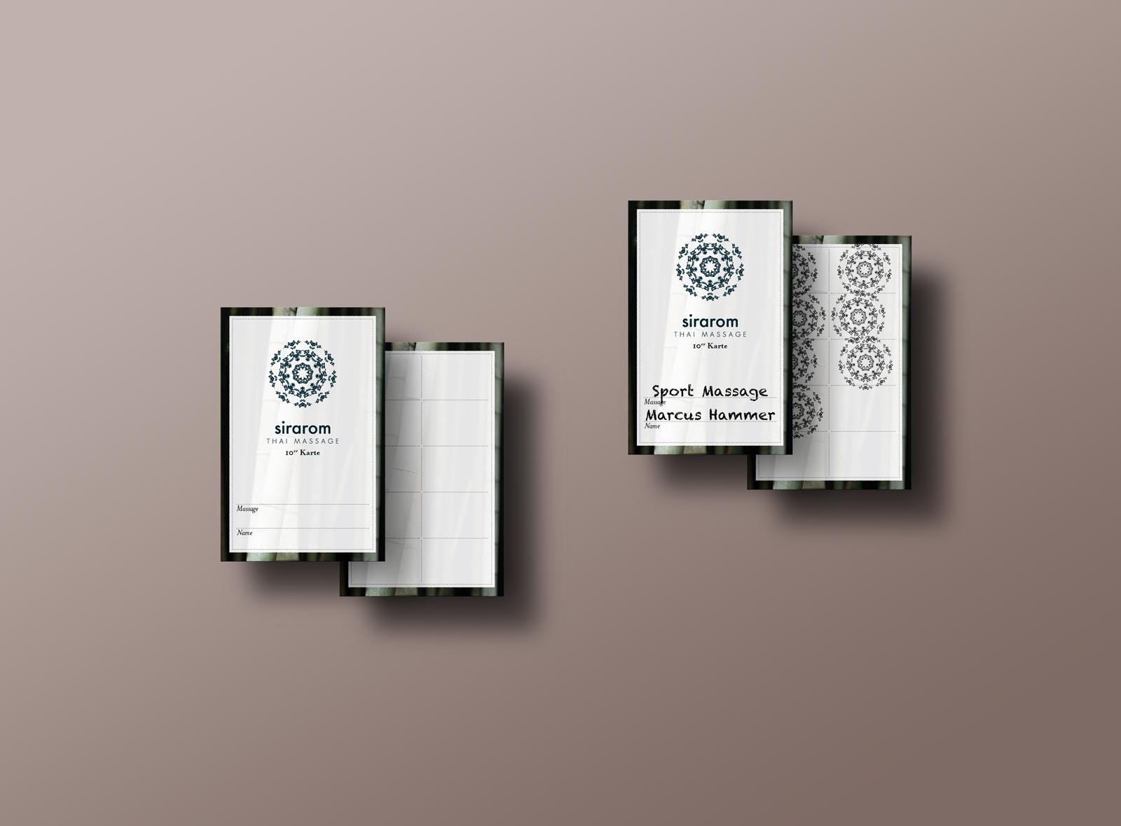 sirarom Thai Massage Stempelkarte Geschäftsausstattung Corporate Design Gesa Siebert Kommunikationsdesign