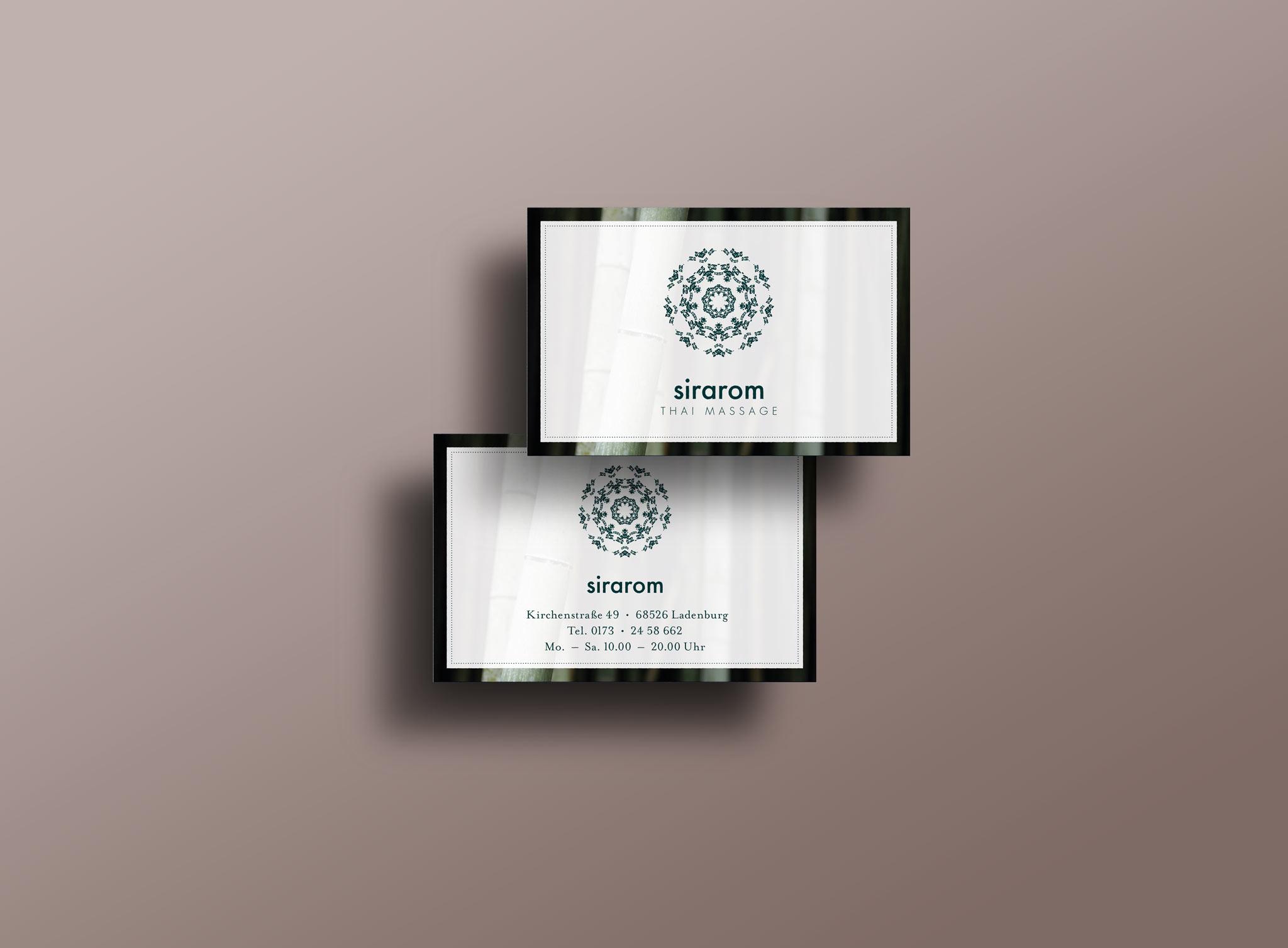 sirarom Thai Massage Visitenkarte Geschäftsausstattung Corporate Design Gesa Siebert Kommunikationsdesign