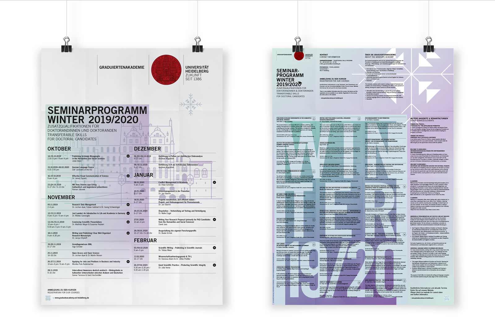Gesa Siebert Kommunikationsdesign Graduiertenakademie Universität Heidelberg Flyer Faltflyer Plakat Illustration Seminarprogramm Wintersemester 2019/2020